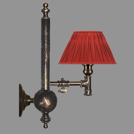 Antique Traditional light with Red Pleated shade