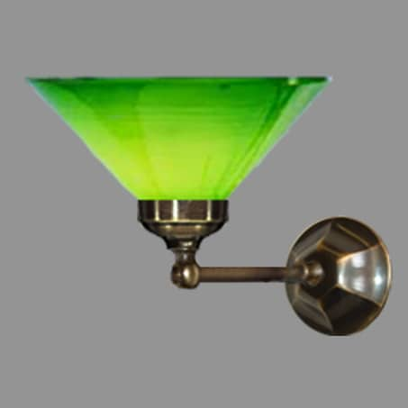 Victorian single wall light with green conical glass shade