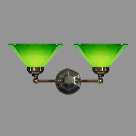 Victorian double wall light with green conical glass shade