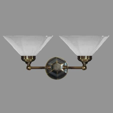 Victorian double wall light with opal conical glass shade