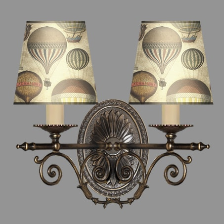 Wall Light 2 arm Antique finish with Balloon Shade Pattern