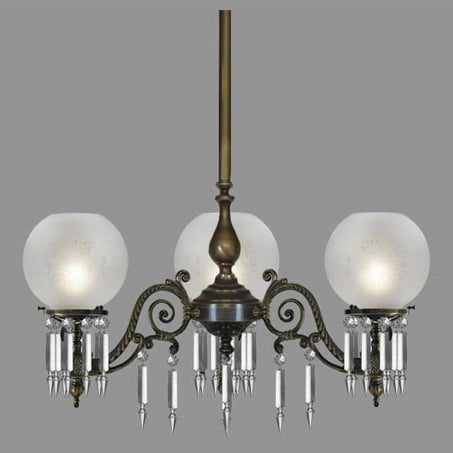 Lighting Pendant Victorian style with etched globes Crystal Drops