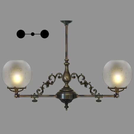 Lighting Pendant Victorian 2 arm etched globe glass