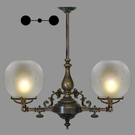 Lighting Pendant Victorian short 2 arm etched globe