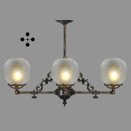 Lighting Pendant Victorian 4 arm etched globe