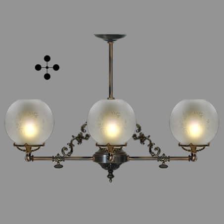 Lighting Pendant Victorian 4 arm etched globe