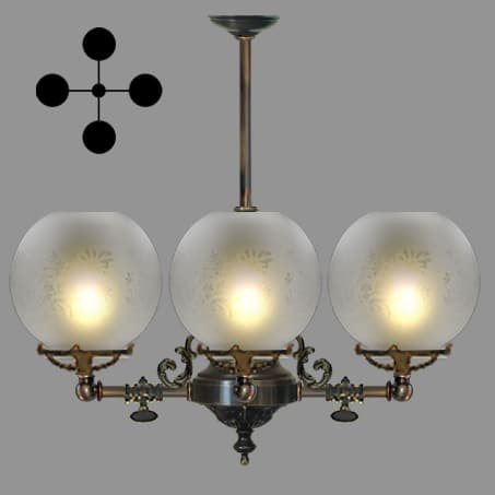 Lighting Pendant Victorian short 4 arm etched globe