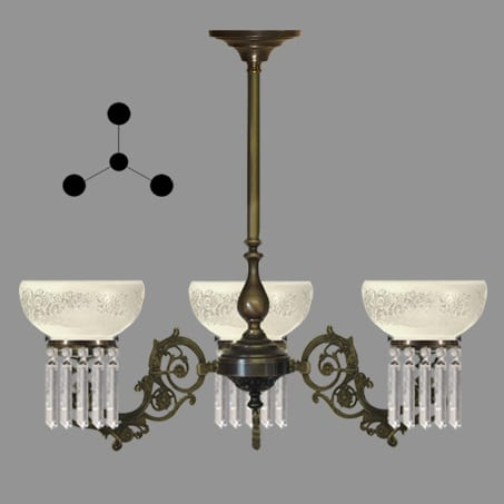 Lighting Pendant Victorian 3 arm etched glass