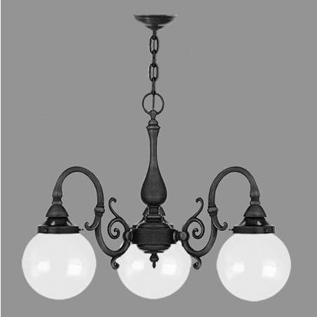 3 arm Victorian Pendant with opal globe shades