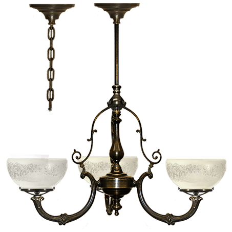 Victorian 3 arm pendant with etched glass shade