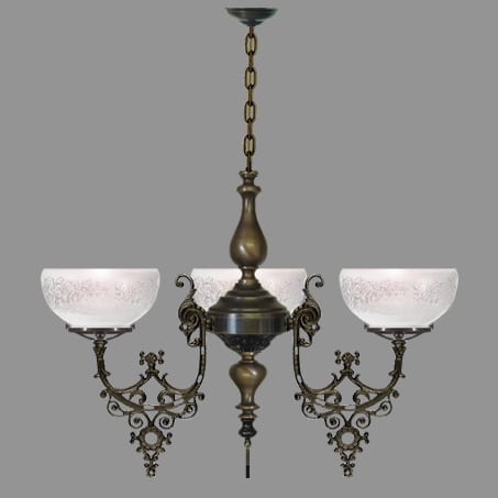 Victorian 3 Arm Antique lighting pendant.