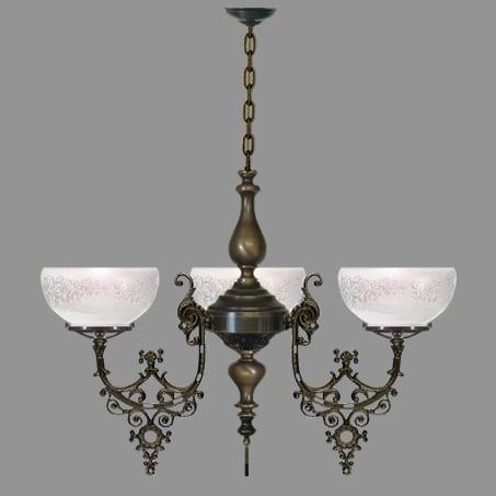 Victorian 3 Arm Antique lighting pendant.