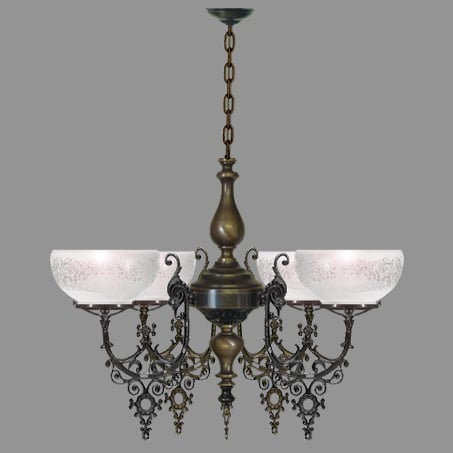 Victorian 4 Arm Antique lighting pendant.