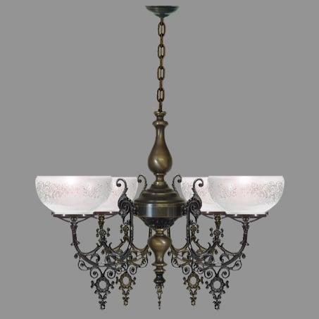 Victorian 4 Arm Antique lighting pendant.