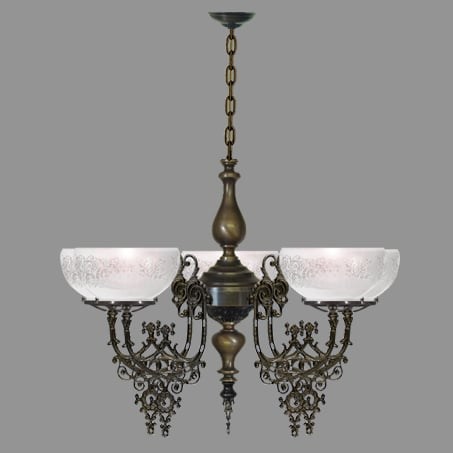 Victorian 5 Arm Antique lighting pendant.