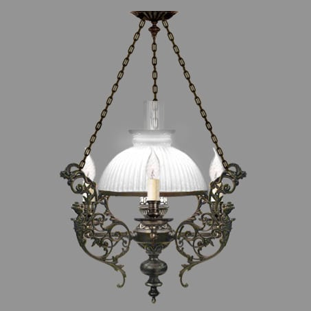 Victorian Lighting Pendant Opal Ribbed Glass Shade
