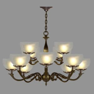 Victorian 12 arm antique pendant with etched dome glass shades