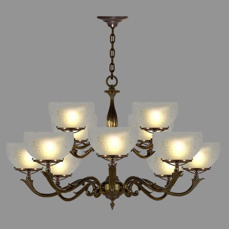 Victorian 8 arm Lighting Pendant Antique