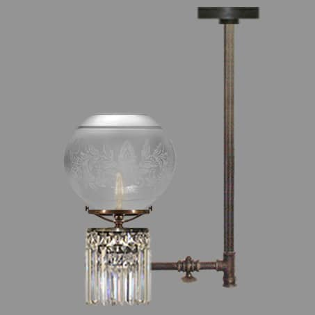 Lighting Pendant Gas Tap design Etched Glass Globe cut glass crystal drops