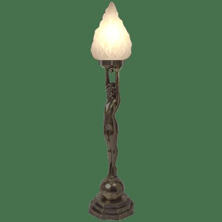 Antique Bronze figurine with Flambeau Glass shade