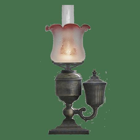 Victorian style Table / Desk lamp Pink tip glass Side Oil Holder