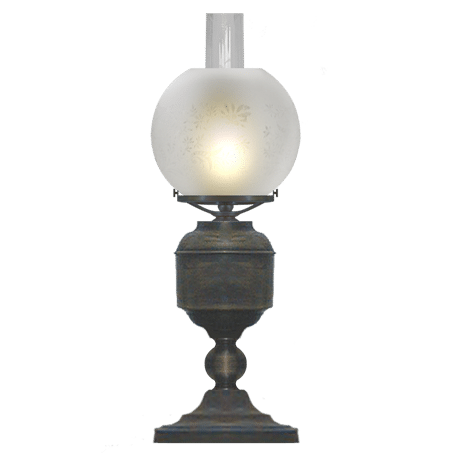 Victorian style table / desk lamp with etched globe shade