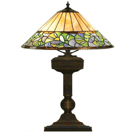 Victorian table-desk lamp Leaded glass shade