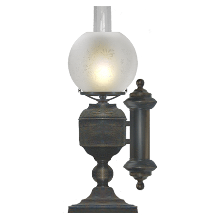 Victorian style table / Desk lamp with etched globe shade side Oil Font