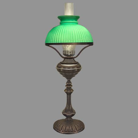 Table Lamp Victorian style with 250mm Ribbed Green Glass Cowl