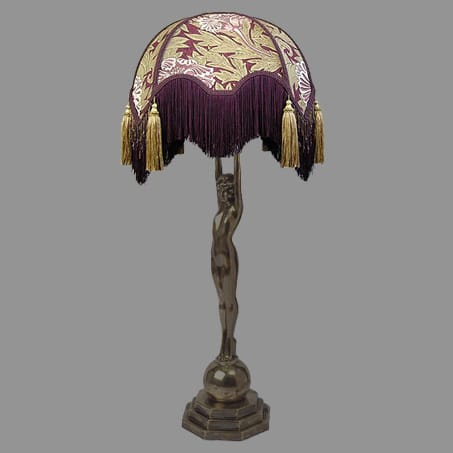 Victorian Table Lamp Figure with Tassel shade