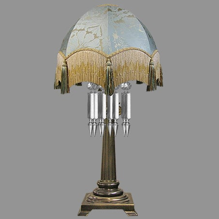 Victorian Table Lamp Crystal Drops Tassel Shade