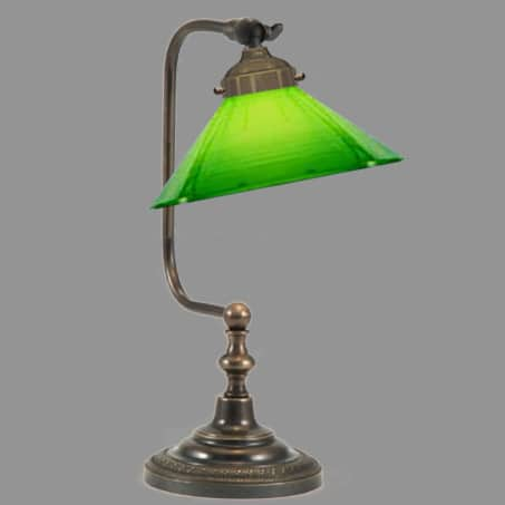 Desk Lamp with Green conical Glass shade