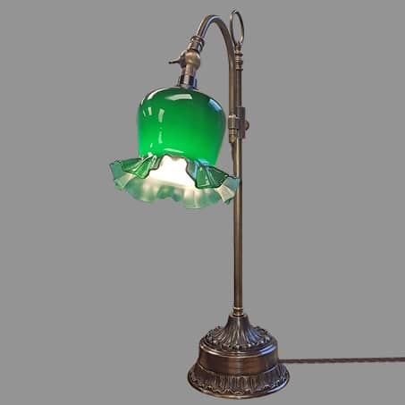 Victorian Desk Lamp Antique Finish with Green Fluted shade