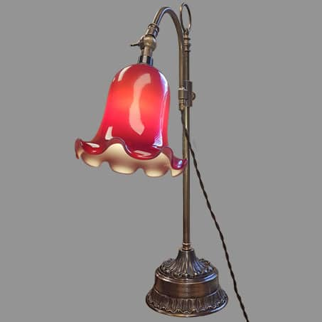 Desk Lamp Antique with Red Duplex glass Bell