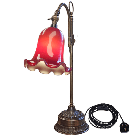 Victorian Desk Lamp Swivel Arm Red Fluted Shade