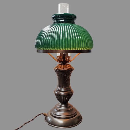 Oil style table lamp with green ribbed shade