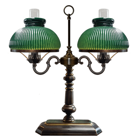 Double Victorian Table / desk lamp with Green ribbed glass shades