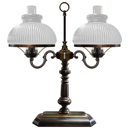 Victorian Table / desk lamp with Opal ribbed glass shades oblong base