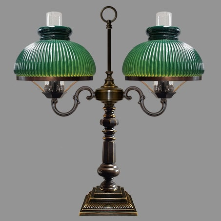 Victorian Table lamp two arm with Green ribbed Glass shades