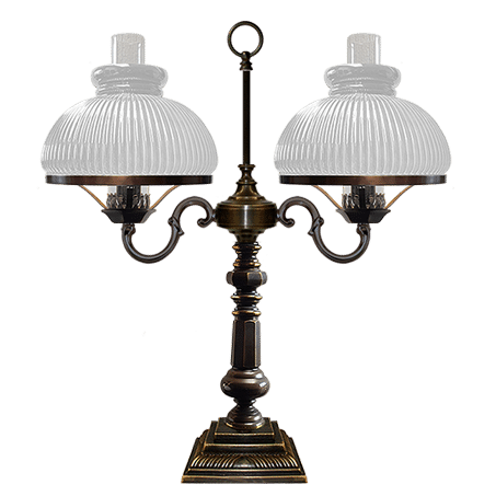 Victorian double arm Desk Lamp Opal ribbed glass shades