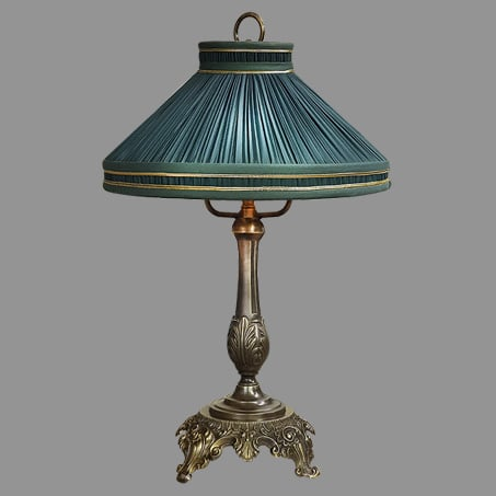 Victorian Table Lamp with Green Pleated shade