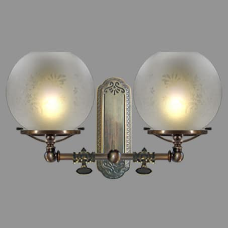 Victorian gas tap double wall light with etched globe shades