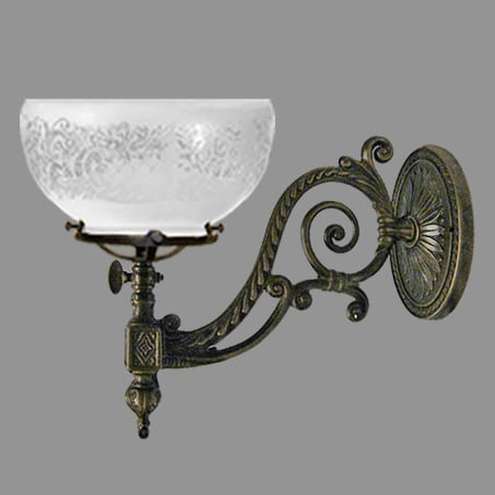 Single Victorian Wall Light with Etched dome gas glass.