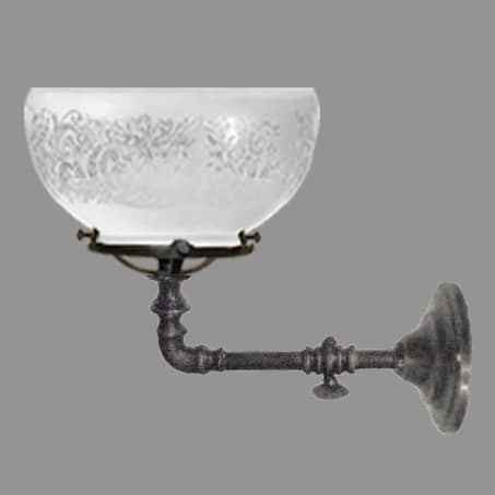 Single Victorian Gas Wall Light with Etched dome gas glass.