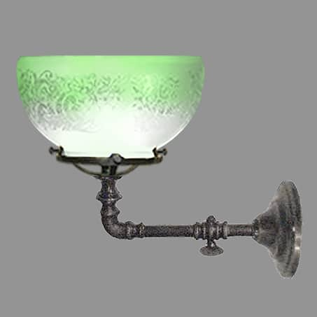 Single Gas Victorian Wall Light Green tip Glass