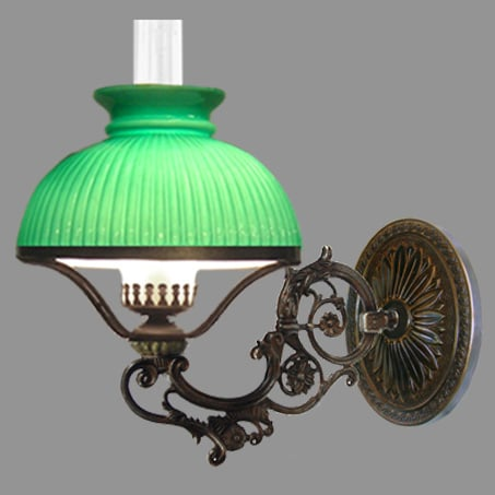 Single Antique Oil Lamp style wall light with Green Ribbed Cowl.