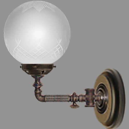Single Victorian Wall Light Etched Globe Gas Tap