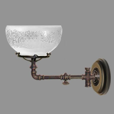 Victoria Wall Light Gas Tap Etched Dome Short version.