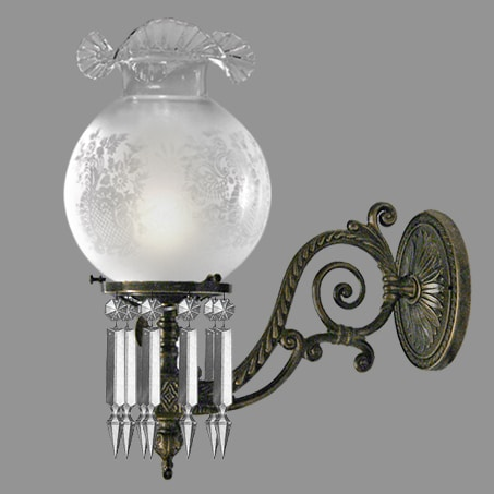 Single Victorian Gas style Wall light acid etched frill gas glass.