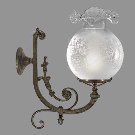 Large Victorian Wall Light Antique Finish Frill Glass.